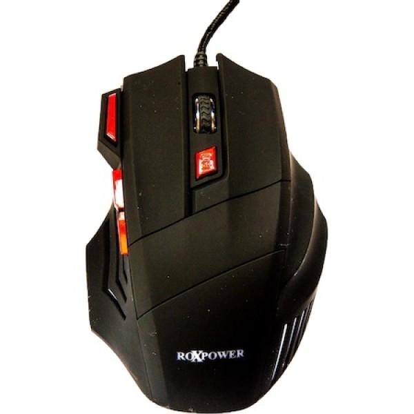 Геймърска Мишка RoXPower M163X, 3200dpi, LED подсветка, Черна