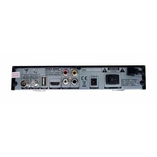 Комбиниран HD приемник Pacostar TSC1260, ефирен, кабелен, сателитен тунер DVB-T/T2, DVB-S/S2, DVB-C, 12V