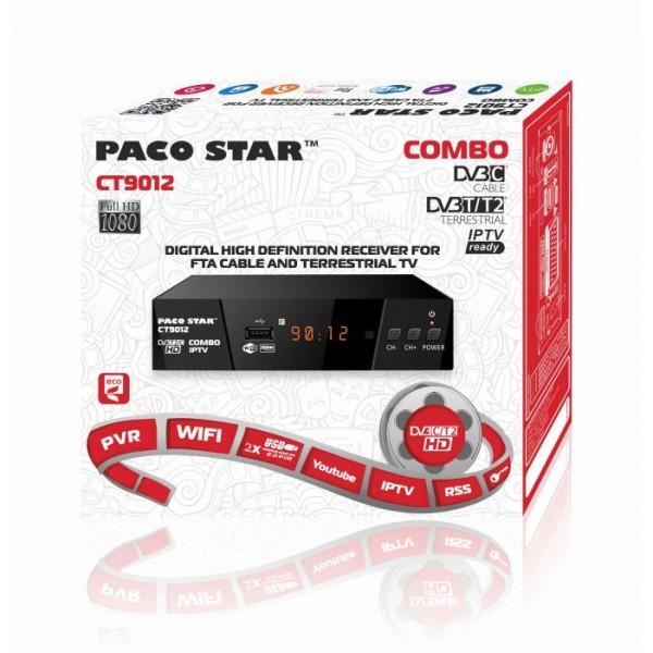 Комбиниран цифров HD приемник Paco Star CT9012 с кабелен и ефирен DVB-C, DVB-T/T2 тунер и IPTV
