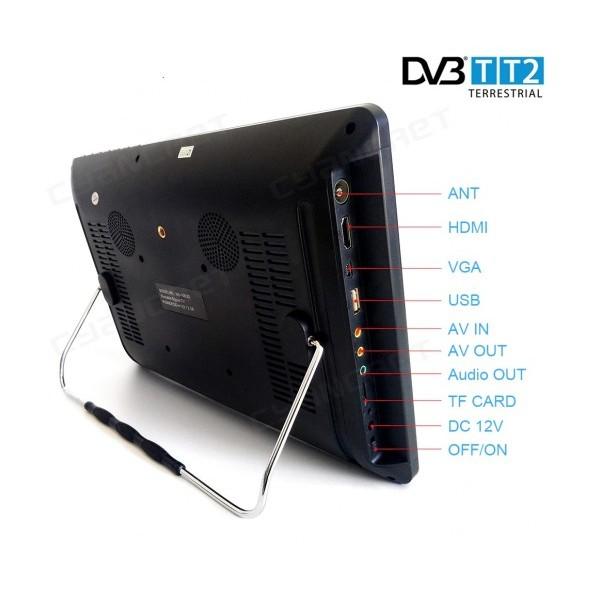 12 портативен телевизор с цифров тунер DVB-T2 Smart Technology TV12, 12 инча, Мултимедия