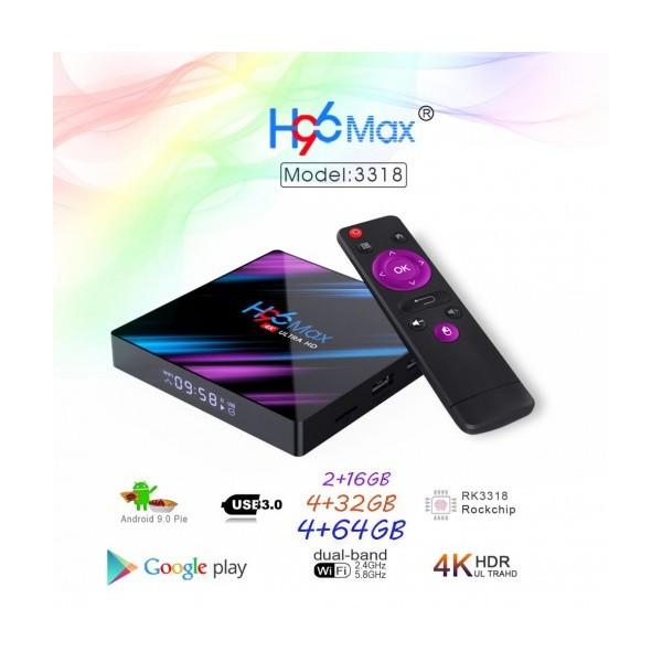 Мултимедиен плеър за гледане на безплатна ТВ и филми TV Box H96 MAX, 4K, Android 9.0, Penta-Core mali-450, SDRAM 4GB, FLASH 16B, WiFi