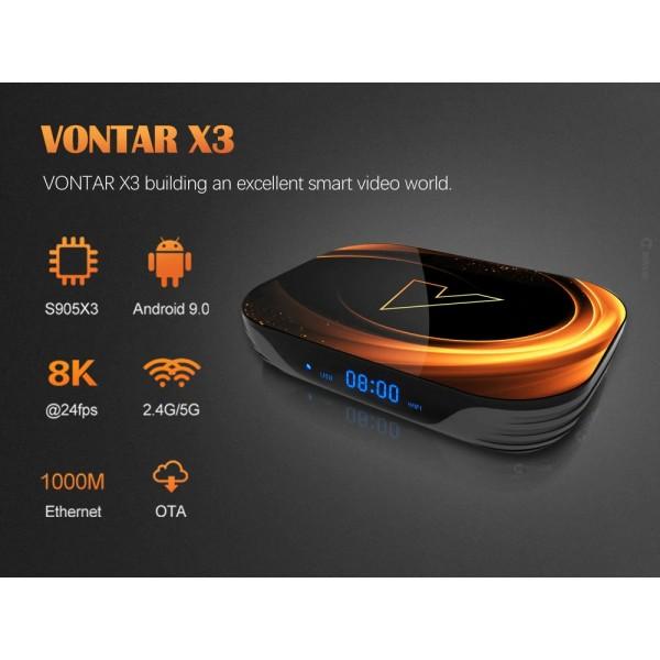 Android Мултимедиен Player-TV BOX VONTAR X3 8K, 4GB RAM, 32GB ROM