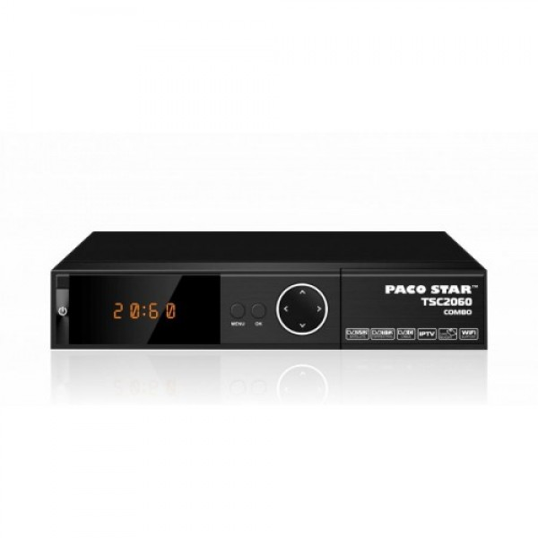Цифров, комбиниран HD приемник PACO STAR TSC2060,DVB-S2/T2/C, IPTV, 12/220V