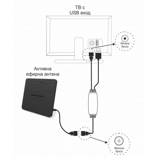 Захранващ кабел за активни DVB-T /Т2 ефирни антени, USB