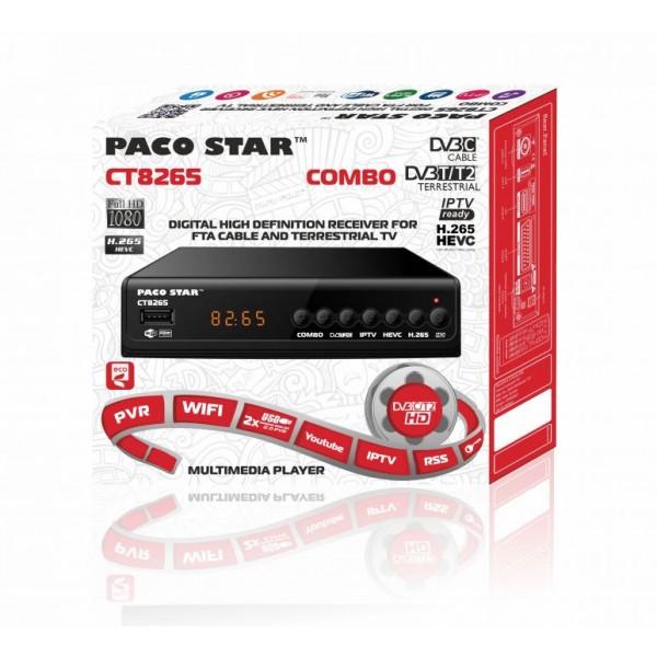 Цифров Комбиниран приемник PACO STAR CT8265 HD HEVC DVB-C, DVB-T/T2, IPTV