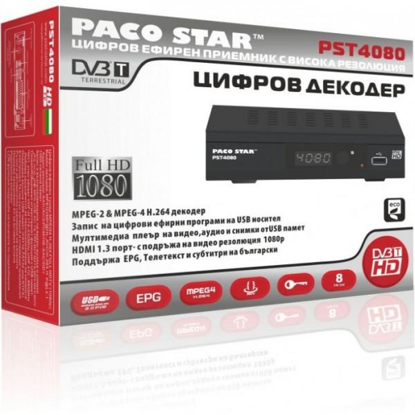 ПРИЕМНИК ЗА ЦИФРОВА ЕФИРНА ТЕЛЕВИЗИЯ FULL HD PACOSTAR PST4080