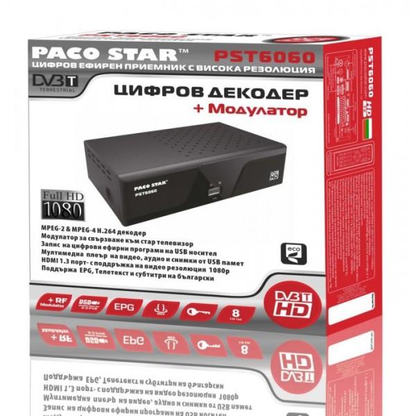 ЦИФРОВ DVB-T ПРИЕМНИК ЗА ЕФИРНА ТЕЛЕВИЗИЯ PACO STAR PST6060