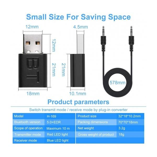 Bluetooth USB Аудио приемник - предавател 2 в 1 мини, 3.5mm жак