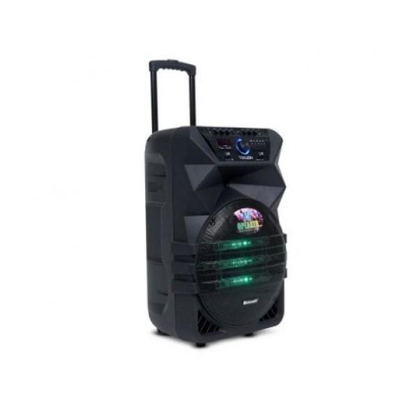15 инчова тонколона OM&LS К5-15 с вграден акумулатор, Bluetooth, МП3 плейър, безжични микрофони 2 бр. за караоке