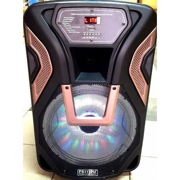 12 инчова тонколона FEYIPU K8-12 с вграден акумулатор, Bluetooth, МП3 плейър, безжични микрофони 2 бр. за караоке