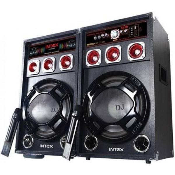 Активни Тонколони INTEX DJ-220K с Вграден Усилвател, два Безжични Микрофона, FM радио, SD/USB, 2x60W