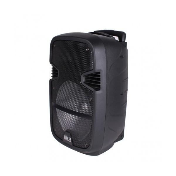 12 инчова тонколона MUHLER MAX 7 с вграден акумулатор, Bluetooth, MP3 плейър, безжични микрофони 2 бр. за караоке