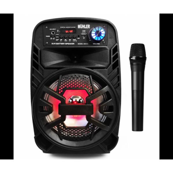 8 инча Bluetooth Тонколона с вграден акумулатор, МП3 плейър от SD карта и флашка, Блутут и безжичен микрофон за караоке MÜHLER MAX 3
