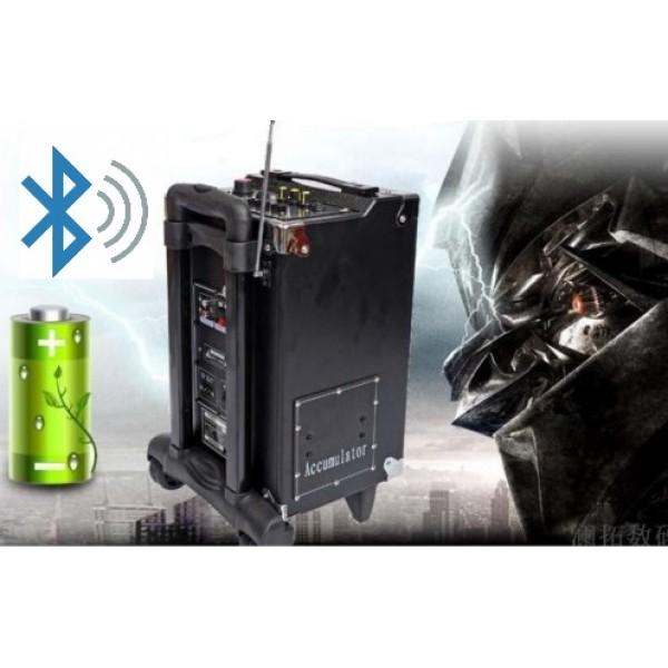 Тонколона с вграден акумулатор, SD карта и флашка, Bluetooth и 2 безжични микрофона MBA Q8 Bluetooth