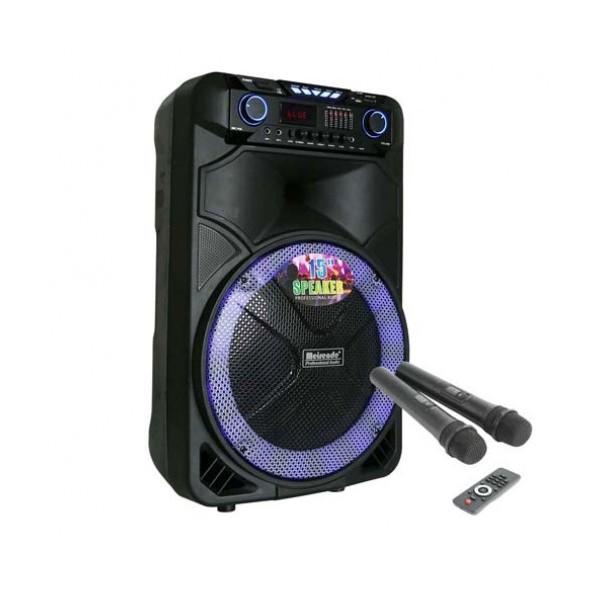 12 инчова тонколона OM&LS MR-108 с вграден акумулатор, Bluetooth, MP3 плейър, безжични микрофони 2 бр. за караоке