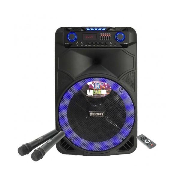 15 инчова тонколона OM&LS MR-108 с вграден акумулатор, Bluetooth, МП3 плейър, безжични микрофони 2 бр. за караоке
