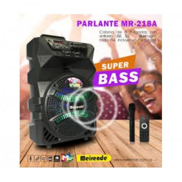 8 Тонколона с вграден акумулатор, MP3 плейър, SD карта и флашка, Bluetooth, безжичен микрофон за караоке, Meirende MR-218A