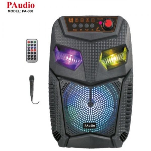 Караоке Тонколона PA-060, 6.5 инча, жичен Микрофон, Акумулатор, Bluetooth, FM радио, USB, Micro SD