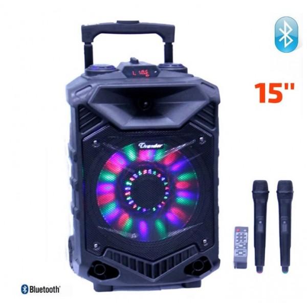 Караоке Тонколона Thunder THS-B1502BTW, 15 инча, 2 безжични Микрофона, Акумулатор, Bluetooth, FM радио, USB, SD карта