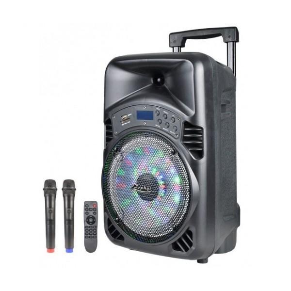 8 инча Тонколона за Караоке Zephyr Z-9999-D8 с вграден акумулатор, Bluetooth, МП3 плейър, 2 бр. безжични микрофони