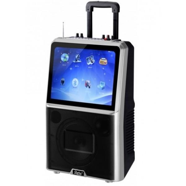 Мощна Караоке тонколона с вграден акумулатор Zephyr Z-9999-ETV, 15 инча LED дисплей, MP3, Bluetooth, 2 безжични микрофона