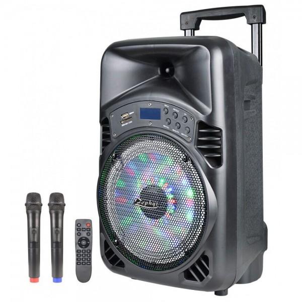 15 Тонколона за Караоке Zephyr Z-9999-I15 с вграден акумулатор, Bluetooth, MP3 плейър, 2 бр. безжични микрофона