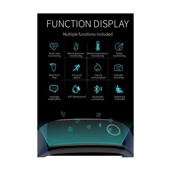 Влагоустойчива смарт гривна Smart technology T10, Телесна температура, Пулс, Кръвно налягане