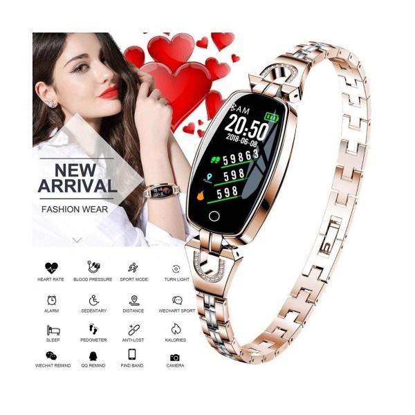 Влагоустойчива дамска смарт гривна Smart technology H8, Пулс, Кръвно налягане
