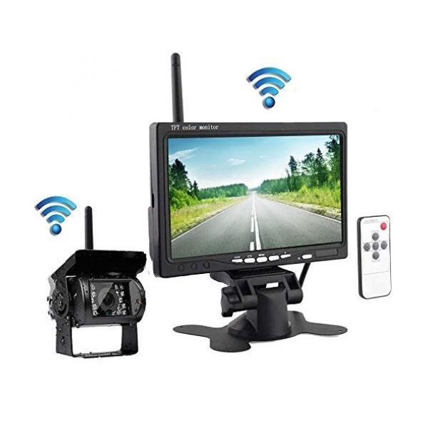 """Безжичен комплект за задно виждане Smart Technology Back Rearview Cam 1, 7"""" монитор, Безжична водоустойчива камера"""