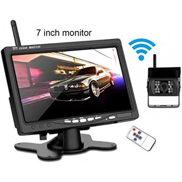 Безжичен комплект за задно виждане Smart Technology Back Rearview Cam 1, 7 монитор, Безжична водоустойчива камера