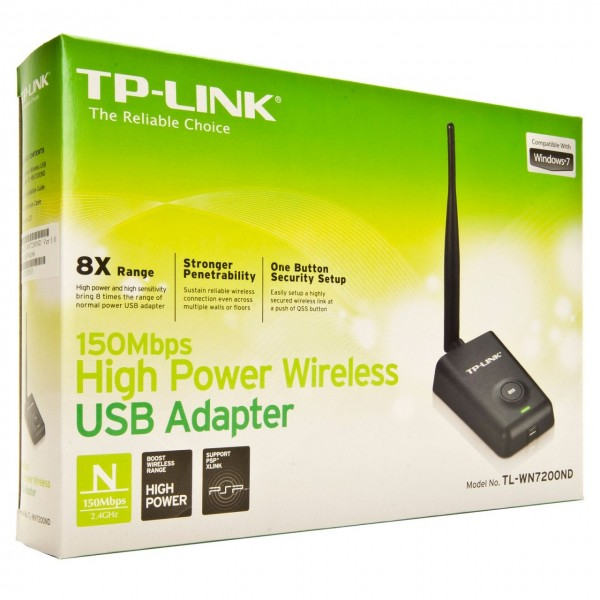 TP-Link TL-WN7200ND, 150Mbps High-Power Wireless-N USB Adapter, 5dBi антена