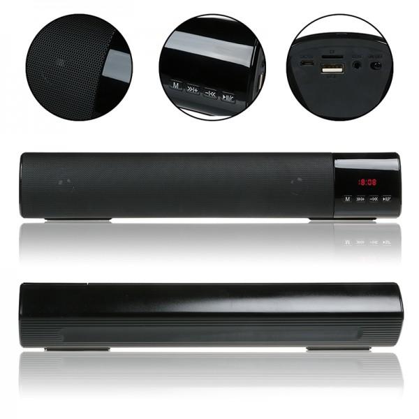 Мощна портативна блутут колона с радио и часовник BT Speaker B28S LCD
